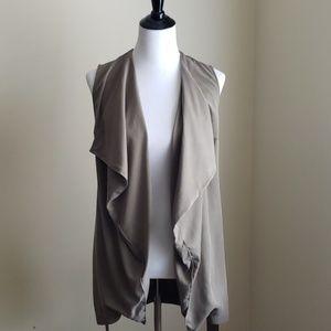 Tencel open front draped vest